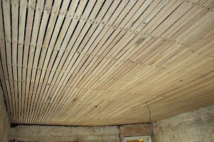 New ceiling installation awaiting lath and plaster work suffolk.